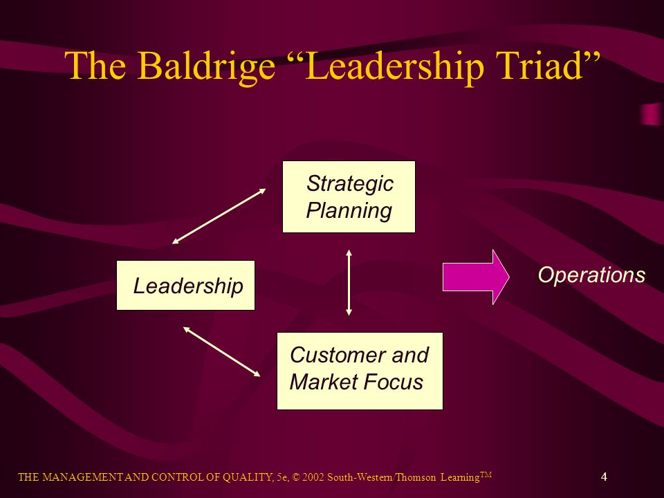 THE MANAGEMENT AND CONTROL OF QUALITY, 5e, © 2002 South-Western/Thomson Learning TM 4 The Baldrige Leadership Triad Leadership Strategic Planning Cust