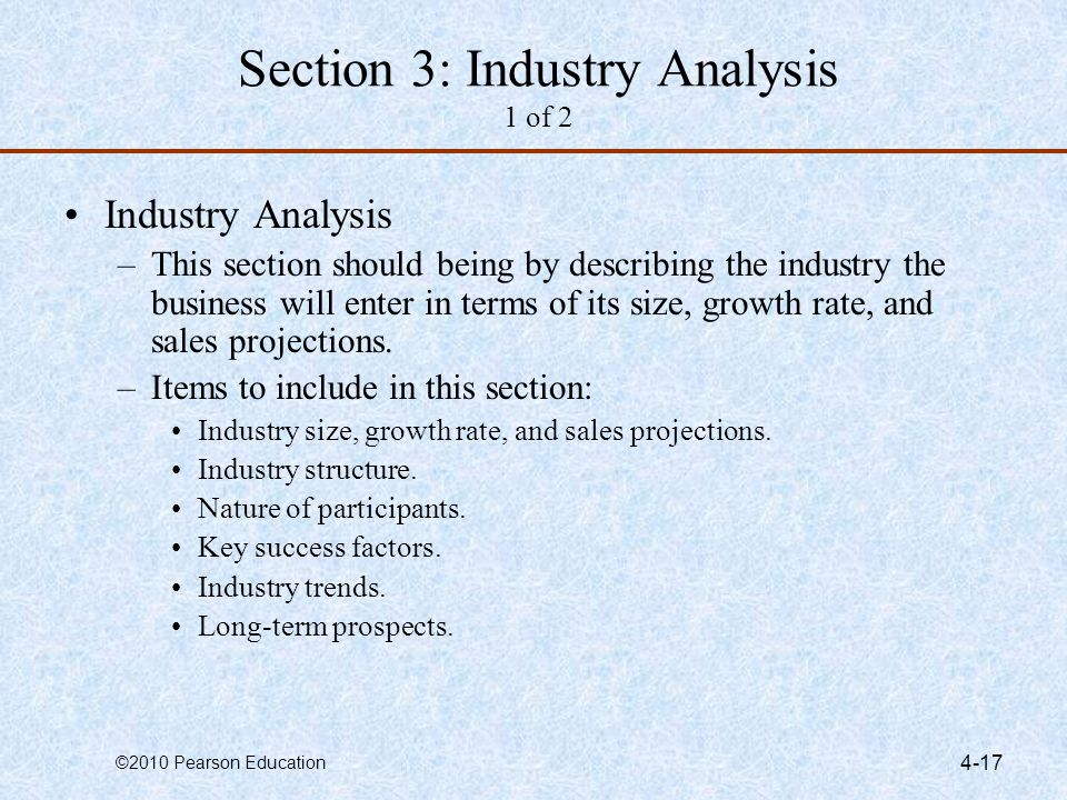 ©2010 Pearson Education 4-17 Section 3: Industry Analysis 1 of 2 Industry Analysis –This section should being by describing the industry the business
