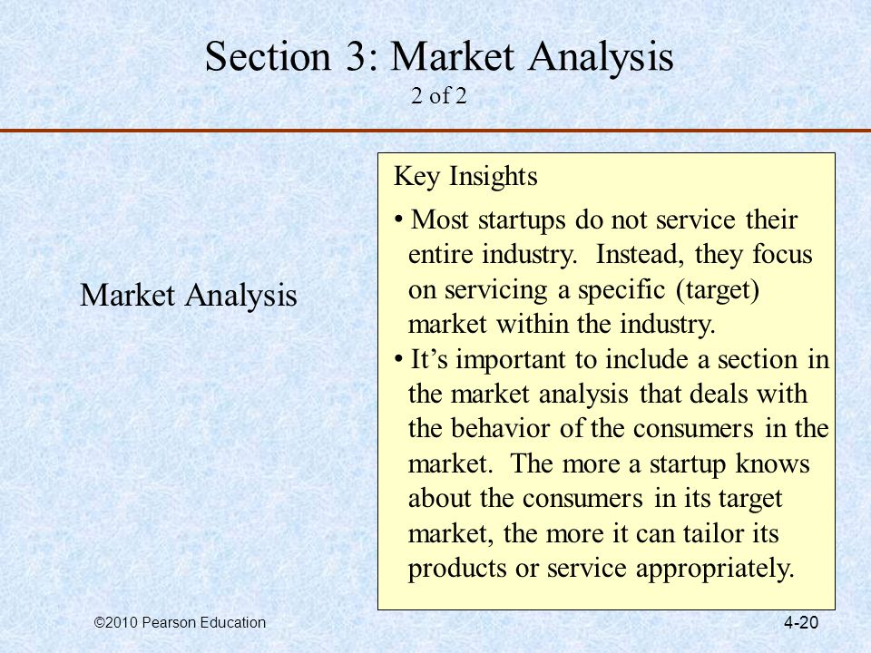 ©2010 Pearson Education 4-20 Market Analysis Key Insights Most startups do not service their entire industry. Instead, they focus on servicing a speci