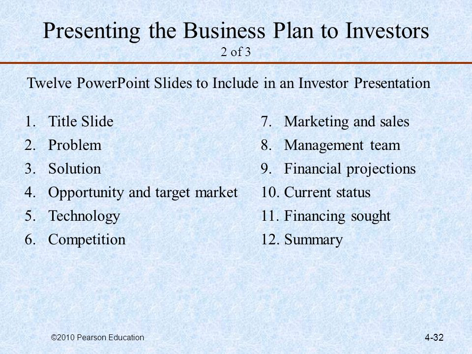 ©2010 Pearson Education 4-32 Presenting the Business Plan to Investors 2 of 3 Twelve PowerPoint Slides to Include in an Investor Presentation 1.Title