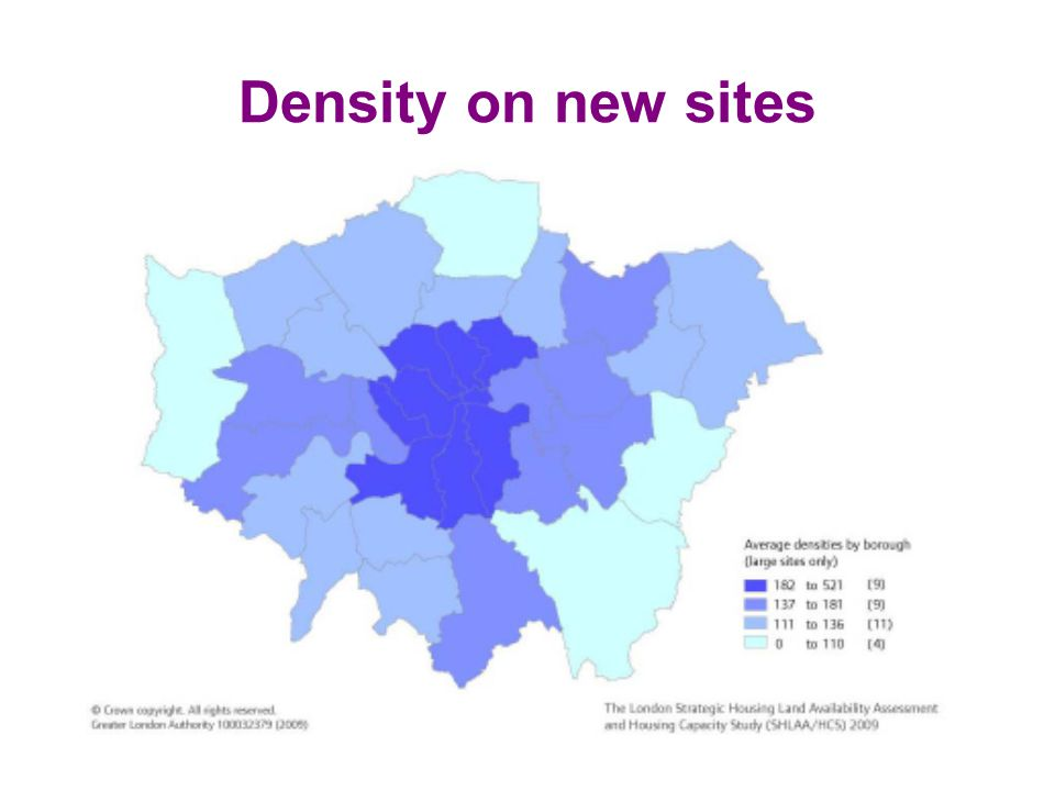 Density on new sites