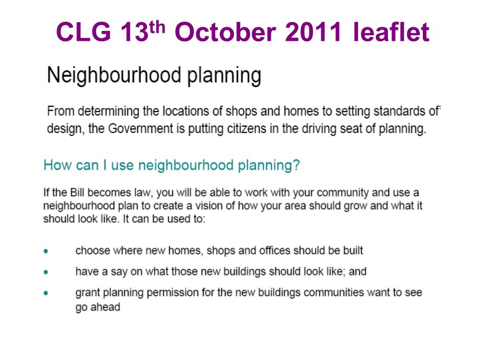 CLG 13 th October 2011 leaflet