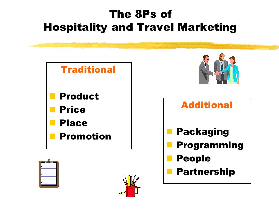 The 8Ps of Hospitality and Travel Marketing Traditional nProduct nPrice nPlace nPromotion Additional nPackaging nProgramming nPeople nPartnership