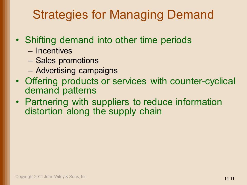 Strategies for Managing Demand Shifting demand into other time periods –Incentives –Sales promotions –Advertising campaigns Offering products or services with counter-cyclical demand patterns Partnering with suppliers to reduce information distortion along the supply chain 14-11 Copyright 2011 John Wiley & Sons, Inc.