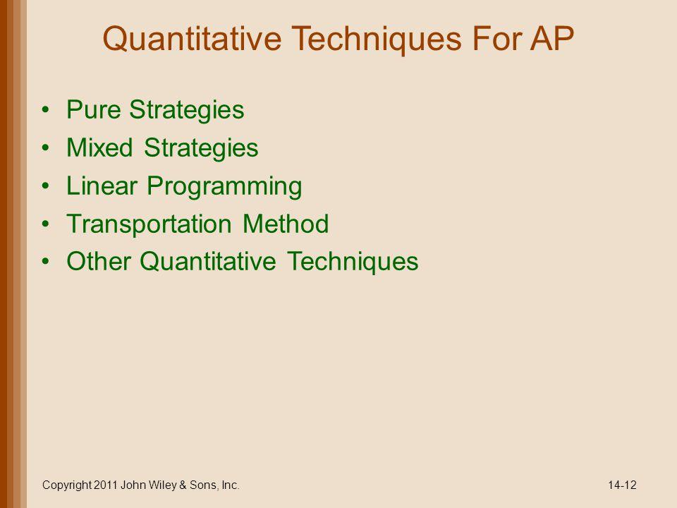 Quantitative Techniques For AP Pure Strategies Mixed Strategies Linear Programming Transportation Method Other Quantitative Techniques Copyright 2011 John Wiley & Sons, Inc.14-12
