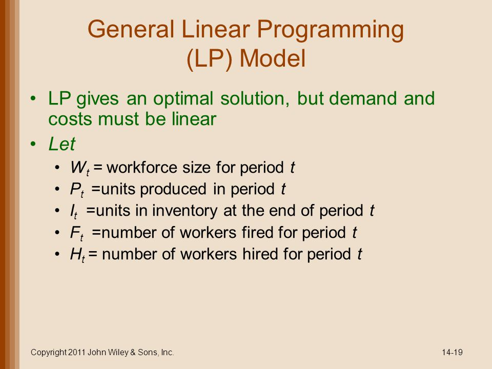 General Linear Programming (LP) Model LP gives an optimal solution, but demand and costs must be linear Let W t = workforce size for period t P t =units produced in period t I t =units in inventory at the end of period t F t =number of workers fired for period t H t = number of workers hired for period t Copyright 2011 John Wiley & Sons, Inc.14-19