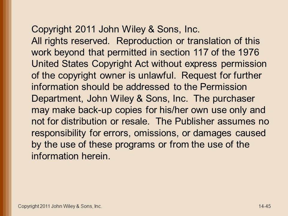 Copyright 2011 John Wiley & Sons, Inc.14-45 Copyright 2011 John Wiley & Sons, Inc.