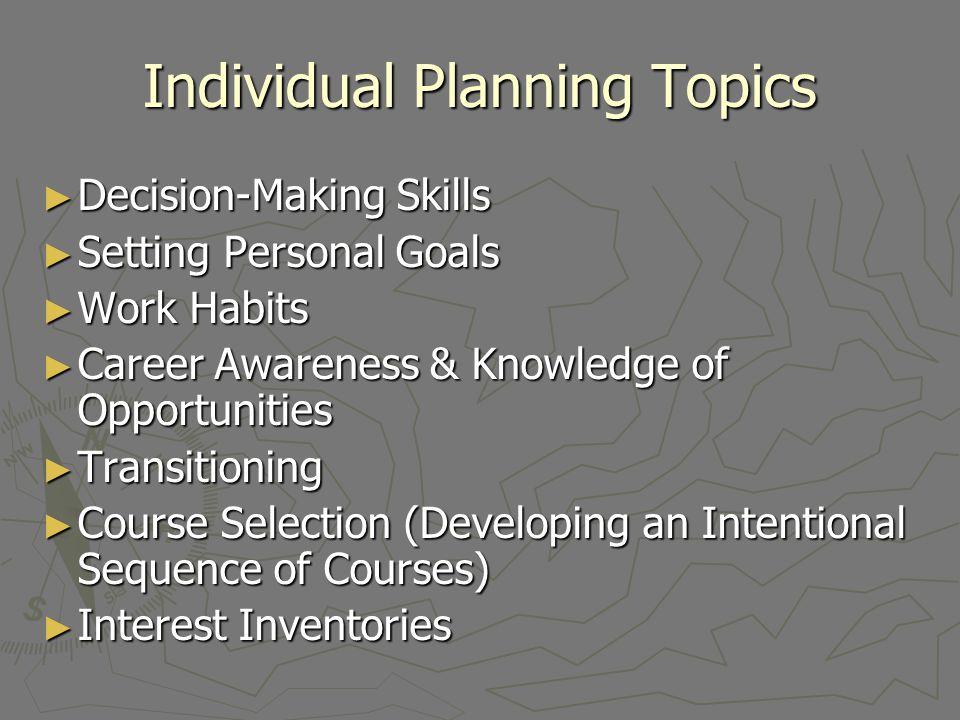 Individual Planning Topics Decision-Making Skills Decision-Making Skills Setting Personal Goals Setting Personal Goals Work Habits Work Habits Career