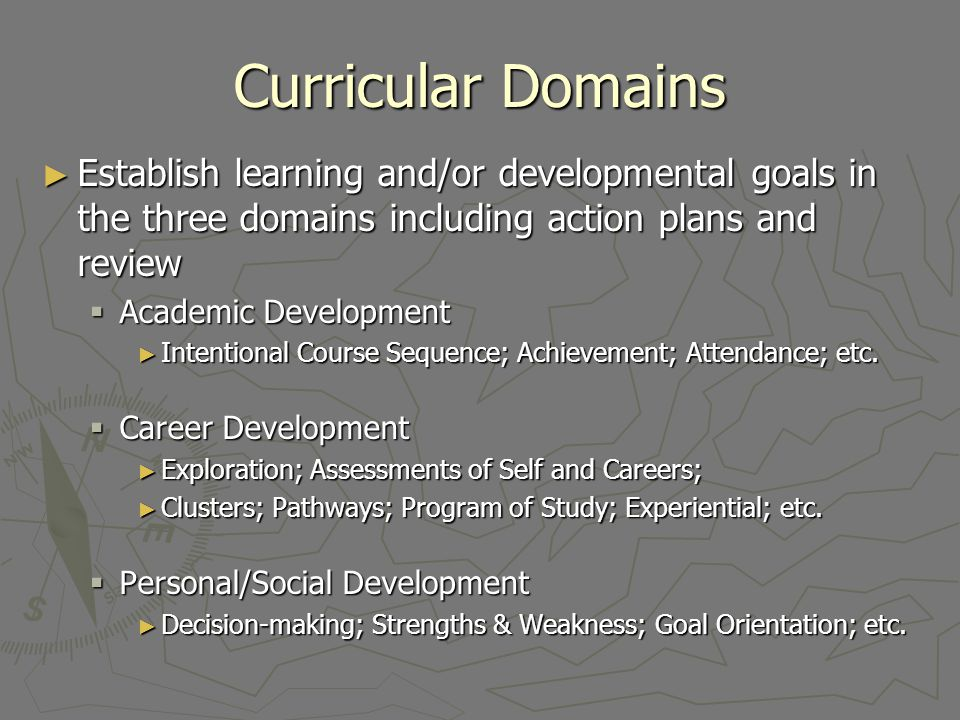Curricular Domains Establish learning and/or developmental goals in the three domains including action plans and review Establish learning and/or deve