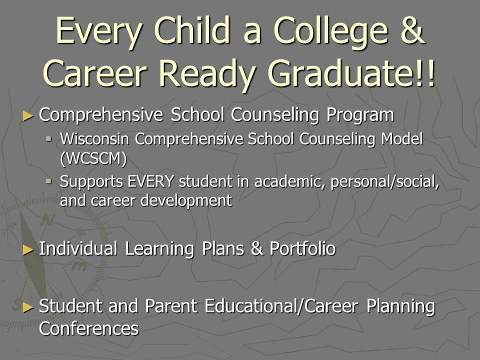 Comprehensive School Counseling A comprehensive school counseling program is an integral component of the schools academic mission.