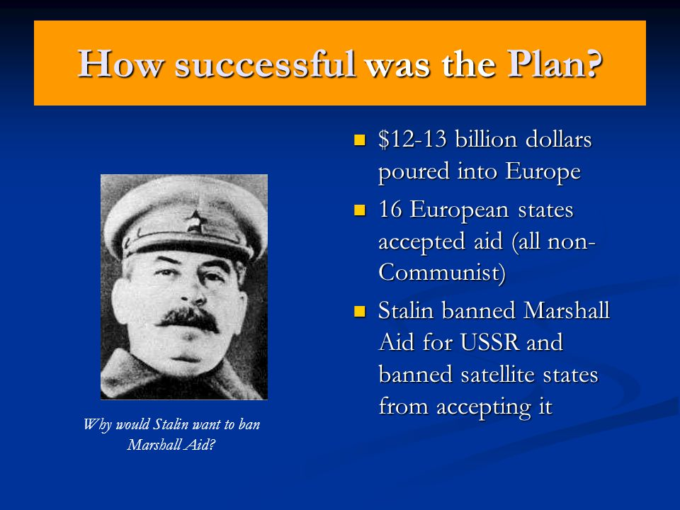 Aims of the Marshall Plan Stop spread of Communism Stop spread of Communism Help economies of Europe recover Help economies of Europe recover Provide