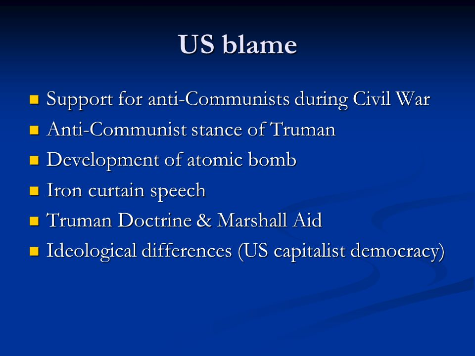 You are going to hold a debate over the issue who was to blame for increasing tensions during the early stages of the Cold War? One side will argue th