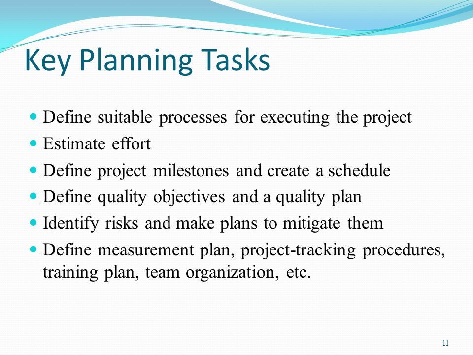Key Planning Tasks Define suitable processes for executing the project Estimate effort Define project milestones and create a schedule Define quality