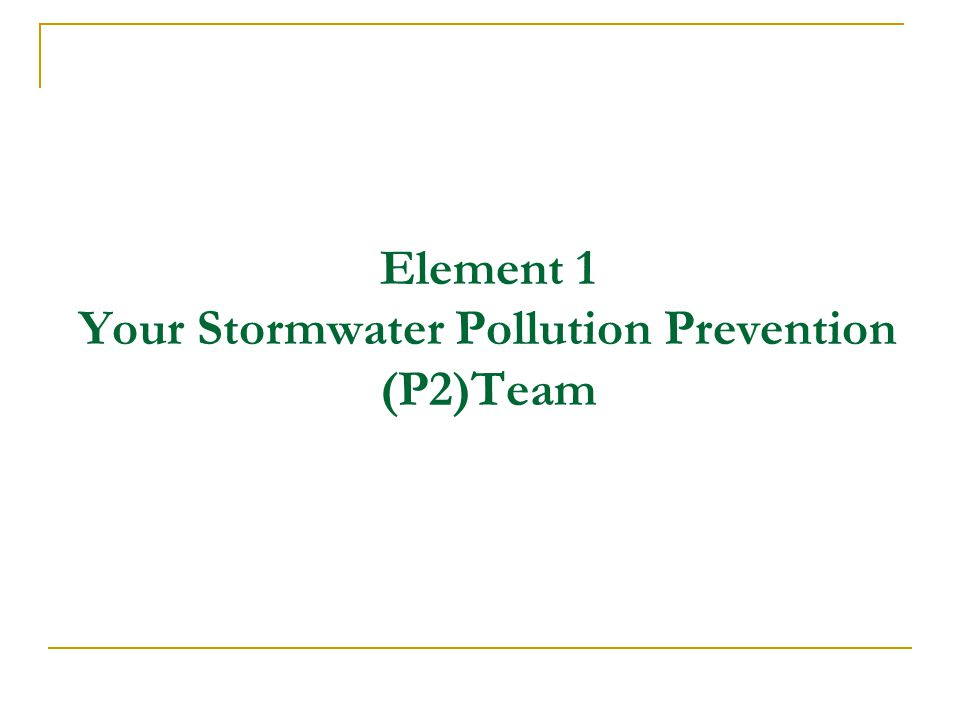 Element 1 Your Stormwater Pollution Prevention (P2)Team