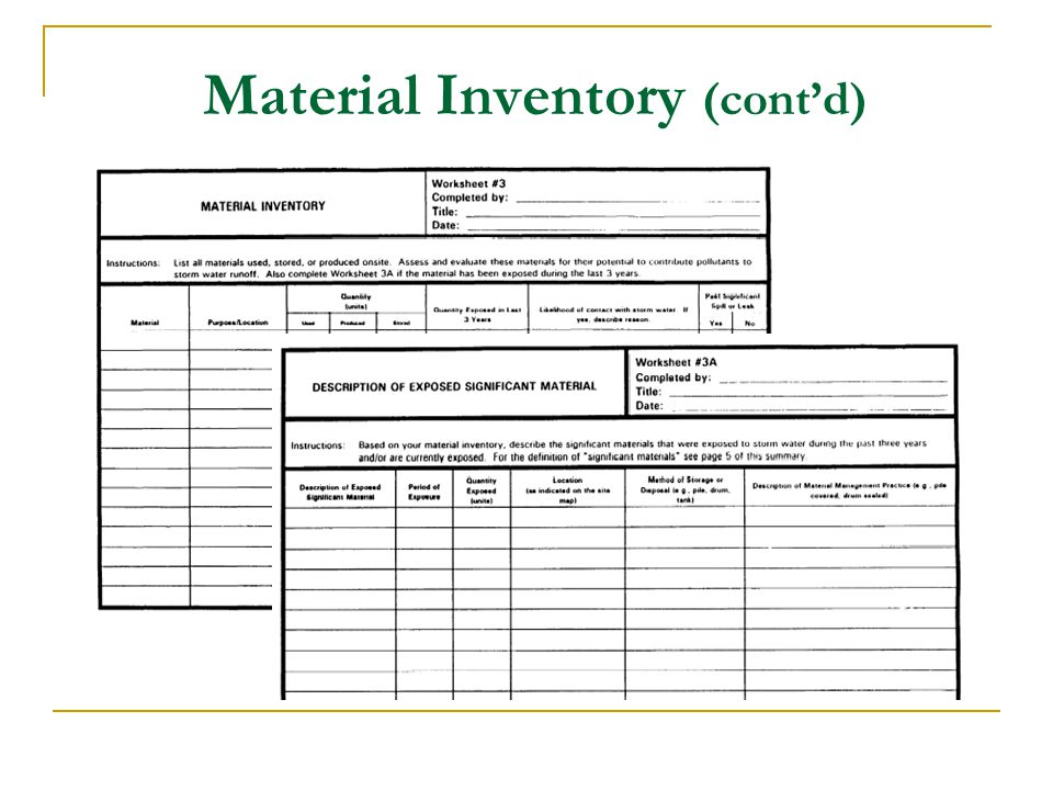 Material Inventory (contd)