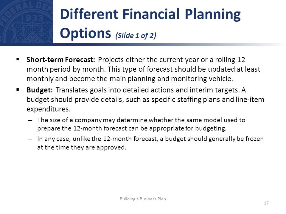 Short-term Forecast: Projects either the current year or a rolling 12- month period by month.