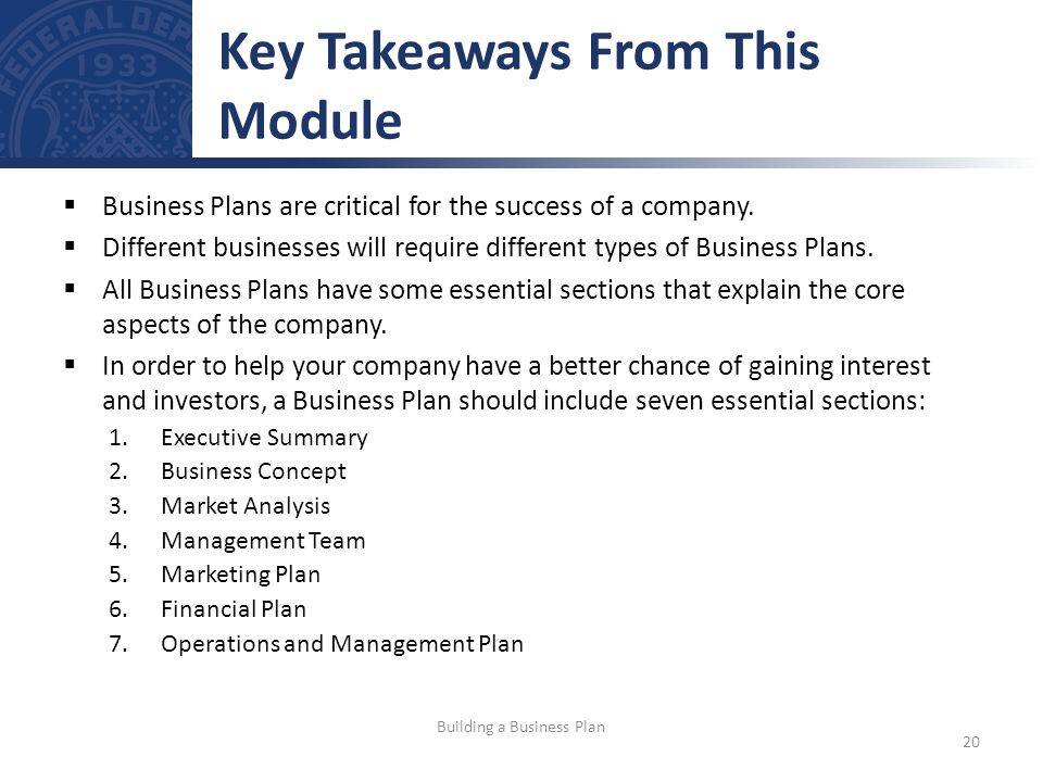 Business Plans are critical for the success of a company.