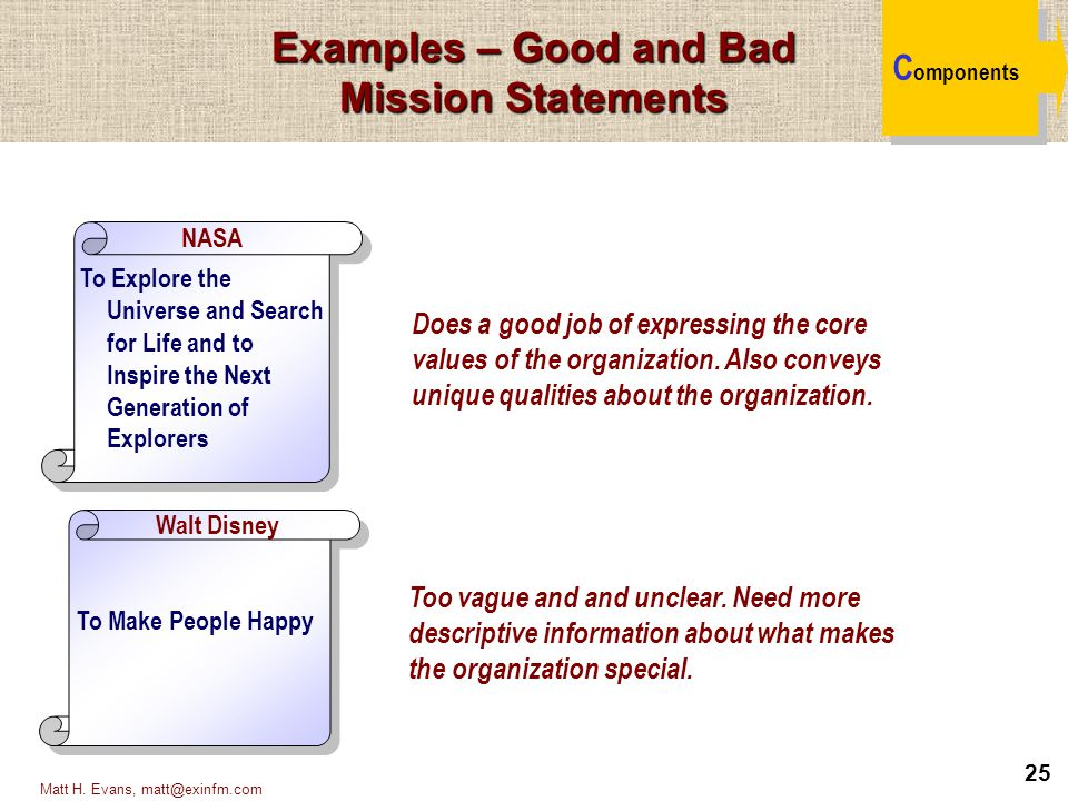 25 Matt H. Evans, matt@exinfm.com Examples – Good and Bad Mission Statements C omponents To Make People Happy To Explore the Universe and Search for L