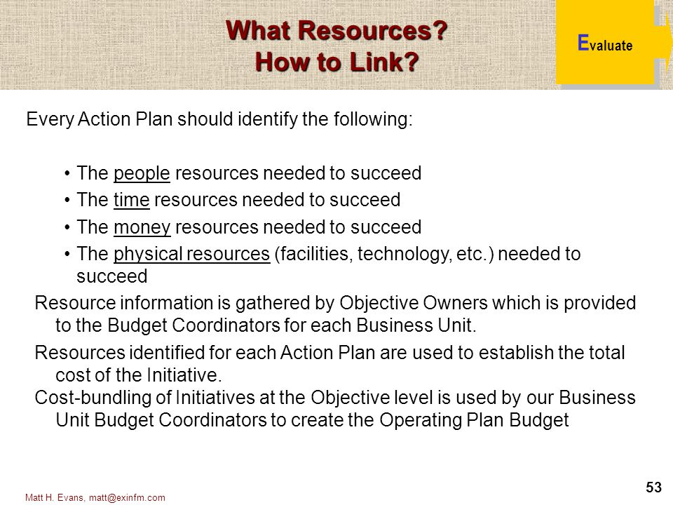53 Matt H. Evans, matt@exinfm.com Every Action Plan should identify the following: The people resources needed to succeed The time resources needed to