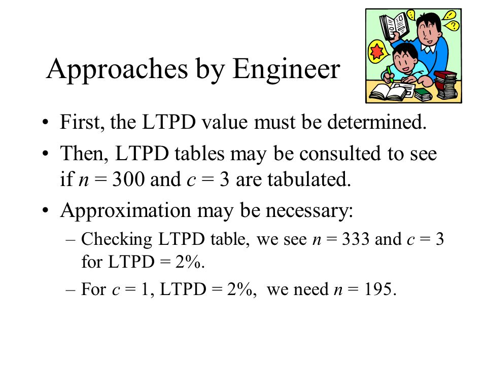 Approaches by Engineer First, the LTPD value must be determined. Then, LTPD tables may be consulted to see if n = 300 and c = 3 are tabulated. Approxi