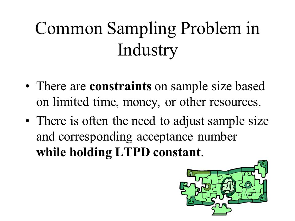 Common Sampling Problem in Industry There are constraints on sample size based on limited time, money, or other resources. There is often the need to