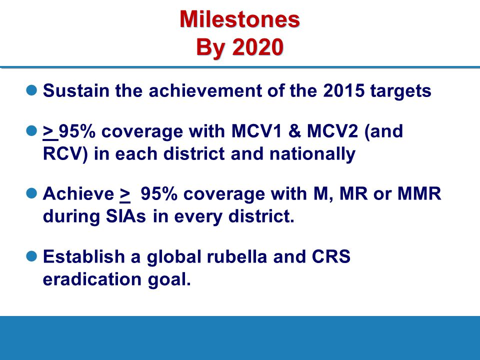 Strategies High vaccination coverage with two doses of measles and rubella vaccines Effective surveillance, monitoring and evaluation Outbreak preparedness and response Case management Research and development