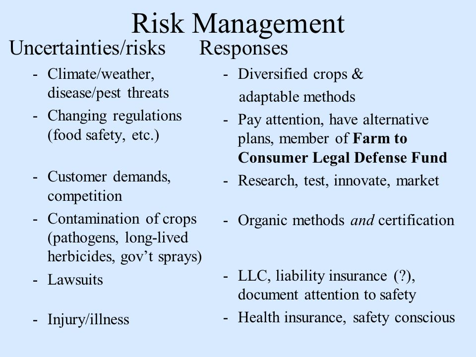 Risk Management Uncertainties/risks -Climate/weather, disease/pest threats -Changing regulations (food safety, etc.) -Customer demands, competition -Contamination of crops (pathogens, long-lived herbicides, govt sprays) -Lawsuits -Injury/illness Responses -Diversified crops & adaptable methods -Pay attention, have alternative plans, member of Farm to Consumer Legal Defense Fund -Research, test, innovate, market -Organic methods and certification -LLC, liability insurance ( ), document attention to safety -Health insurance, safety conscious