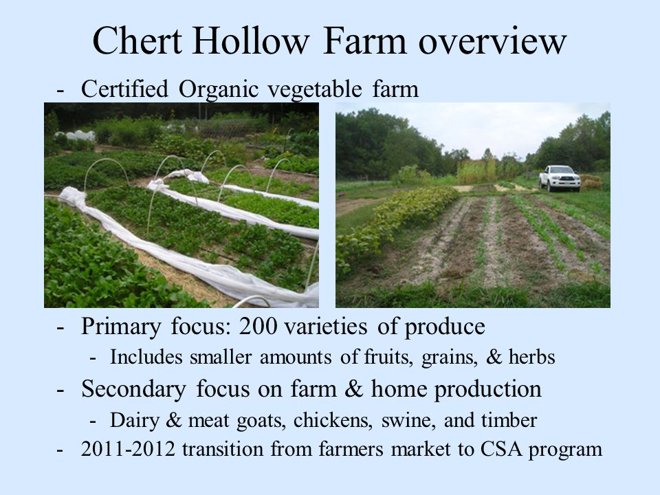 Chert Hollow Farm overview -Certified Organic vegetable farm -Primary focus: 200 varieties of produce -Includes smaller amounts of fruits, grains, & herbs -Secondary focus on farm & home production -Dairy & meat goats, chickens, swine, and timber -2011-2012 transition from farmers market to CSA program