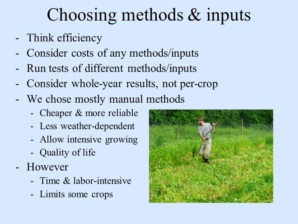 Choosing methods & inputs -Think efficiency -Consider costs of any methods/inputs -Run tests of different methods/inputs -Consider whole-year results, not per-crop -We chose mostly manual methods -Cheaper & more reliable -Less weather-dependent -Allow intensive growing -Quality of life -However -Time & labor-intensive -Limits some crops