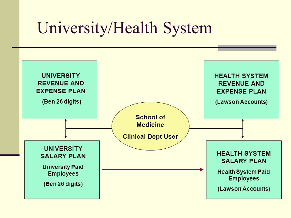 University/Health System School of Medicine Clinical Dept User UNIVERSITY REVENUE AND EXPENSE PLAN (Ben 26 digits) UNIVERSITY SALARY PLAN University Paid Employees (Ben 26 digits) HEALTH SYSTEM REVENUE AND EXPENSE PLAN (Lawson Accounts) HEALTH SYSTEM SALARY PLAN Health System Paid Employees (Lawson Accounts)