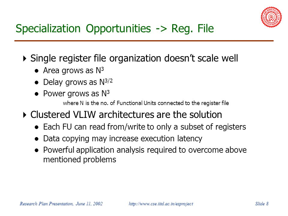 Slide 8 Research Plan Presentation, June 11, 2002 http://www.cse.iitd.ac.in/esproject Specialization Opportunities -> Reg.
