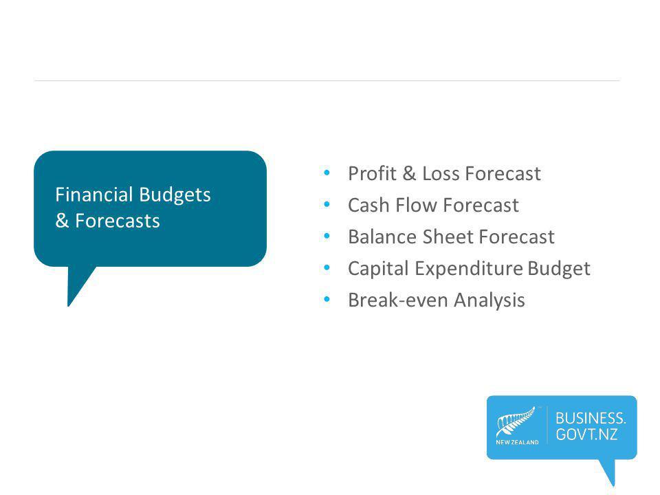 Financial Budgets & Forecasts Profit & Loss Forecast Cash Flow Forecast Balance Sheet Forecast Capital Expenditure Budget Break-even Analysis