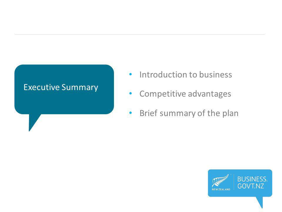 Executive Summary Introduction to business Competitive advantages Brief summary of the plan