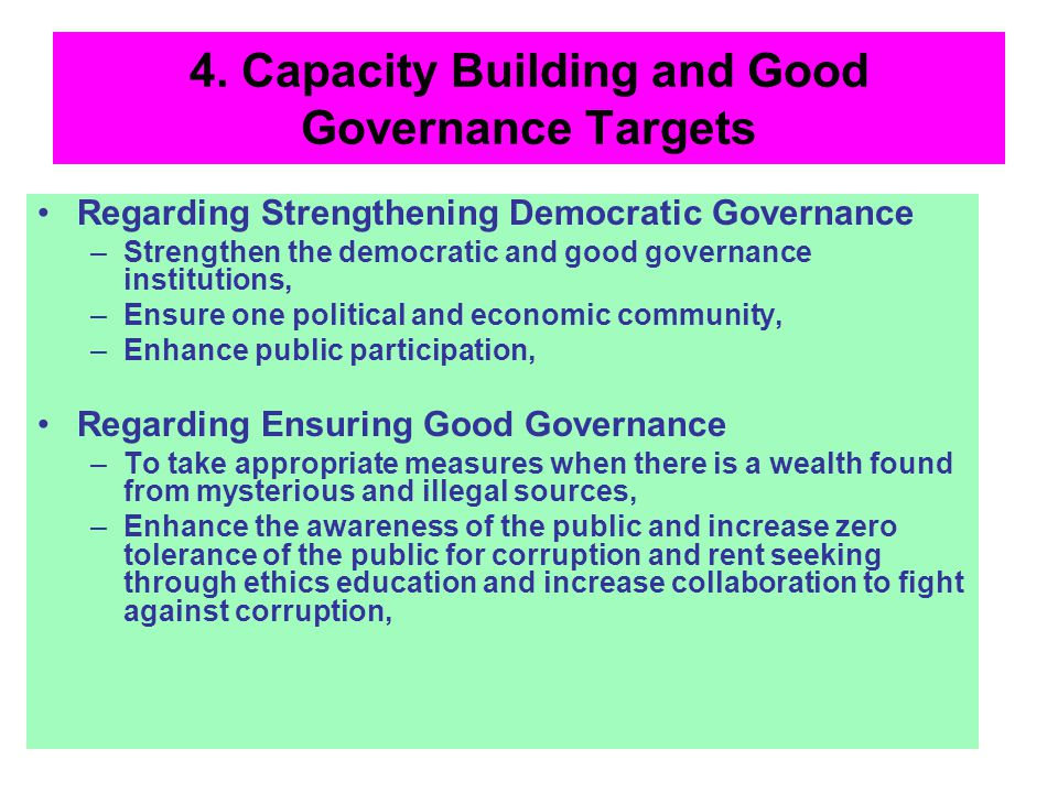4. Capacity Building and Good Governance Targets Regarding Strengthening Democratic Governance –Strengthen the democratic and good governance institut