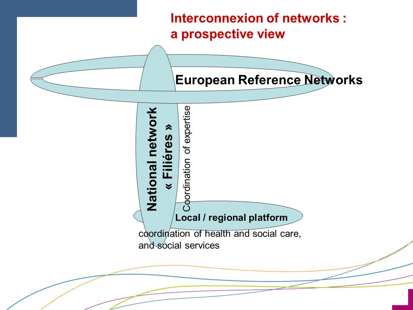 ¨ National network « Filiéres » Local / regional platform European Reference Networks coordination of health and social care, and social services Coor