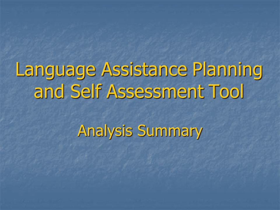 Language Assistance Planning and Self Assessment Tool Analysis Summary