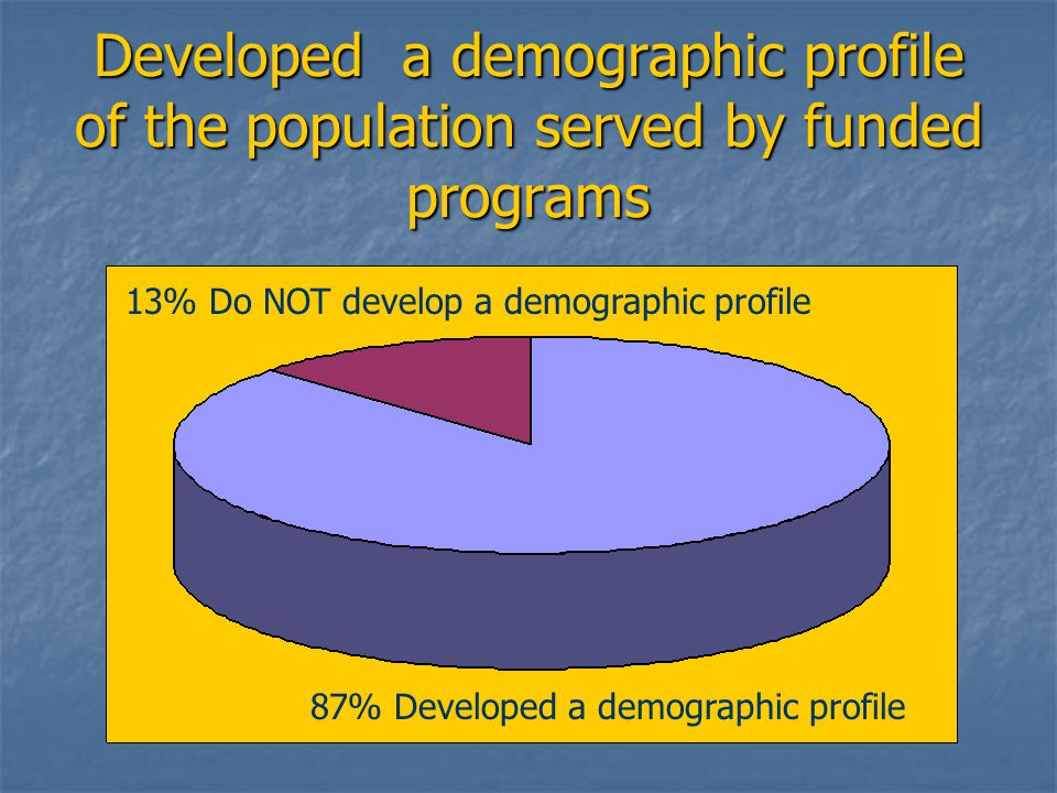 Developed a demographic profile of the population served by funded programs 13% Do NOT develop a demographic profile 87% Developed a demographic profile