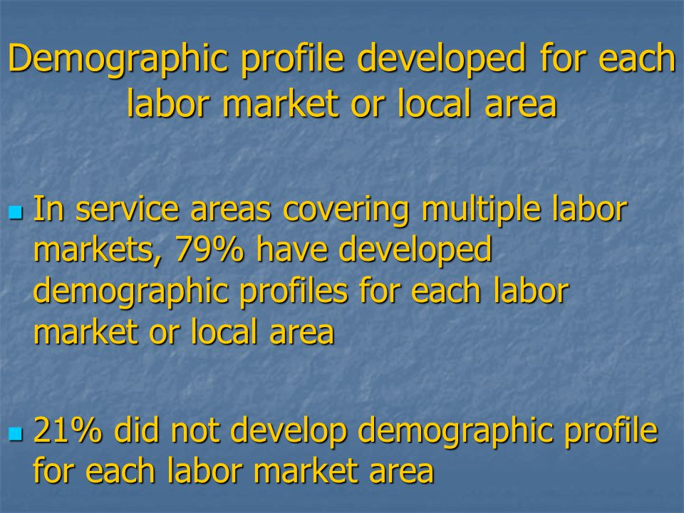 Demographic profile developed for each labor market or local area In service areas covering multiple labor markets, 79% have developed demographic profiles for each labor market or local area In service areas covering multiple labor markets, 79% have developed demographic profiles for each labor market or local area 21% did not develop demographic profile for each labor market area 21% did not develop demographic profile for each labor market area