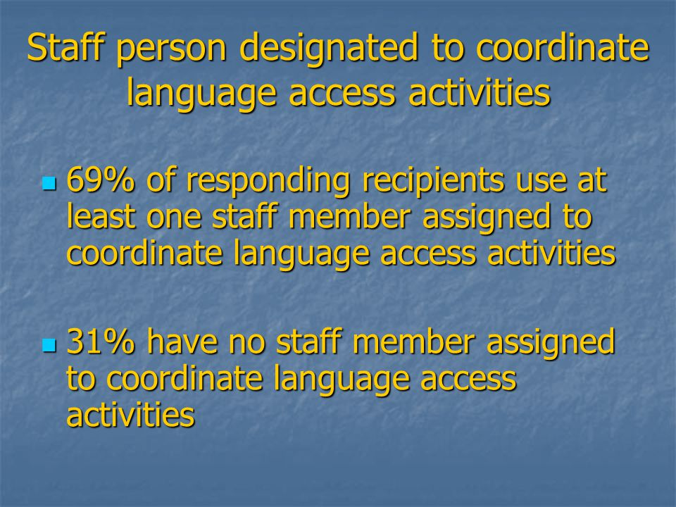 Staff person designated to coordinate language access activities 69% of responding recipients use at least one staff member assigned to coordinate language access activities 69% of responding recipients use at least one staff member assigned to coordinate language access activities 31% have no staff member assigned to coordinate language access activities 31% have no staff member assigned to coordinate language access activities