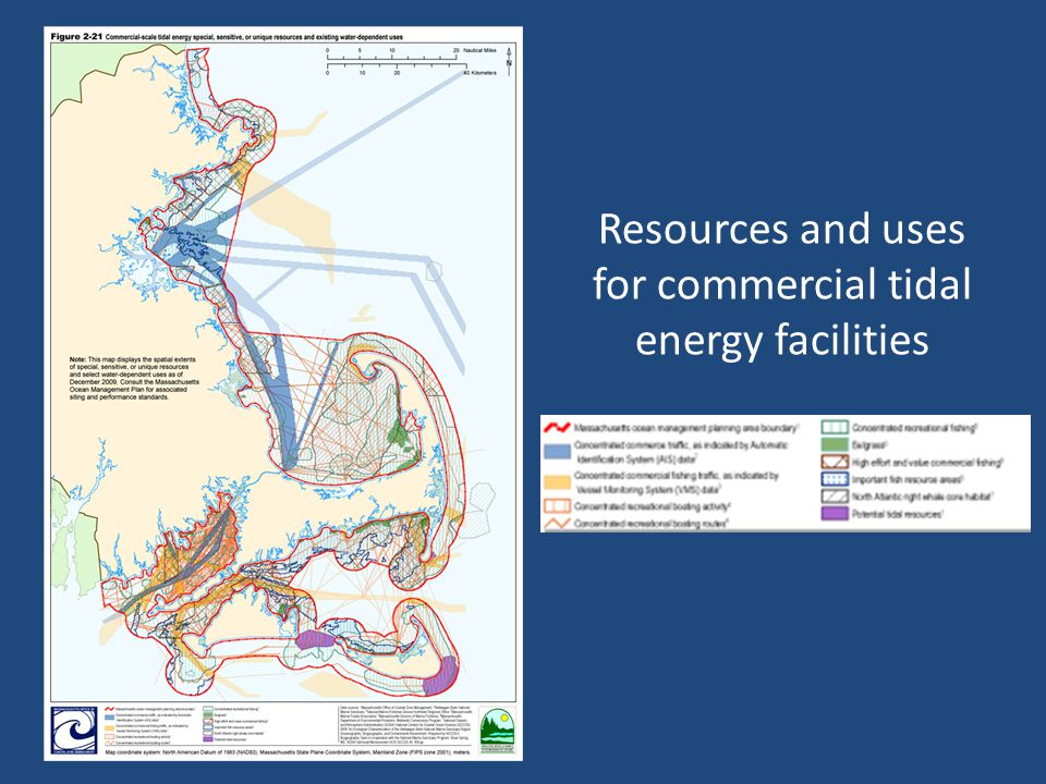 Resources and uses for commercial tidal energy facilities
