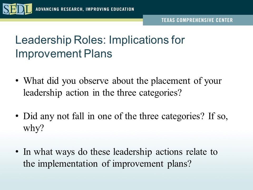 Leadership Roles: Implications for Improvement Plans What did you observe about the placement of your leadership action in the three categories? Did a