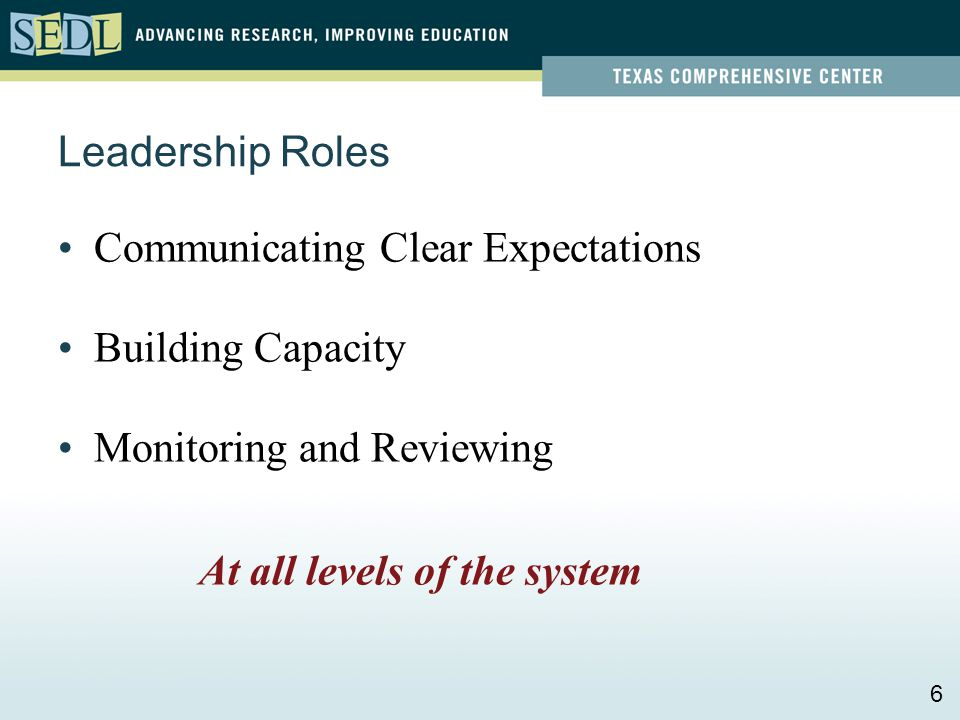 Leadership Roles Communicating Clear Expectations Building Capacity Monitoring and Reviewing At all levels of the system 6