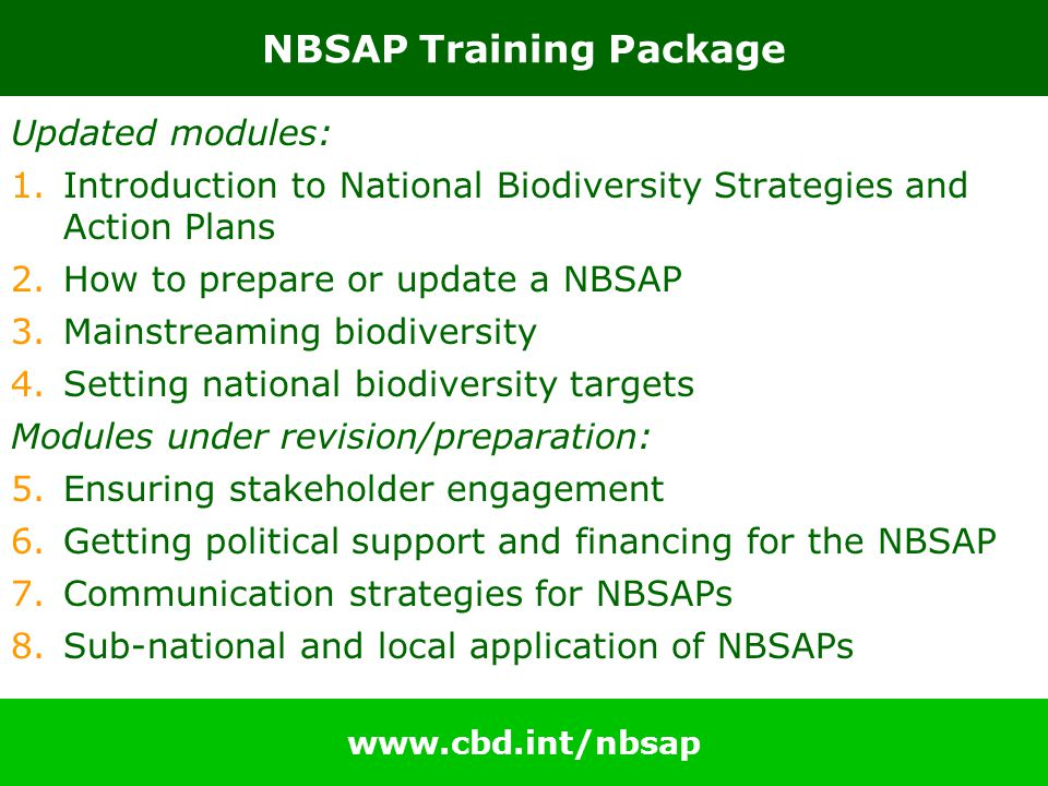 NBSAP Training Package Updated modules: 1.Introduction to National Biodiversity Strategies and Action Plans 2.How to prepare or update a NBSAP 3.Mainstreaming biodiversity 4.Setting national biodiversity targets Modules under revision/preparation: 5.Ensuring stakeholder engagement 6.Getting political support and financing for the NBSAP 7.Communication strategies for NBSAPs 8.Sub-national and local application of NBSAPs www.cbd.int/nbsap