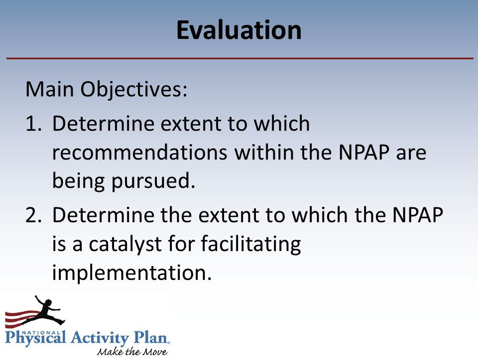 Evaluation Main Objectives: 1.Determine extent to which recommendations within the NPAP are being pursued.