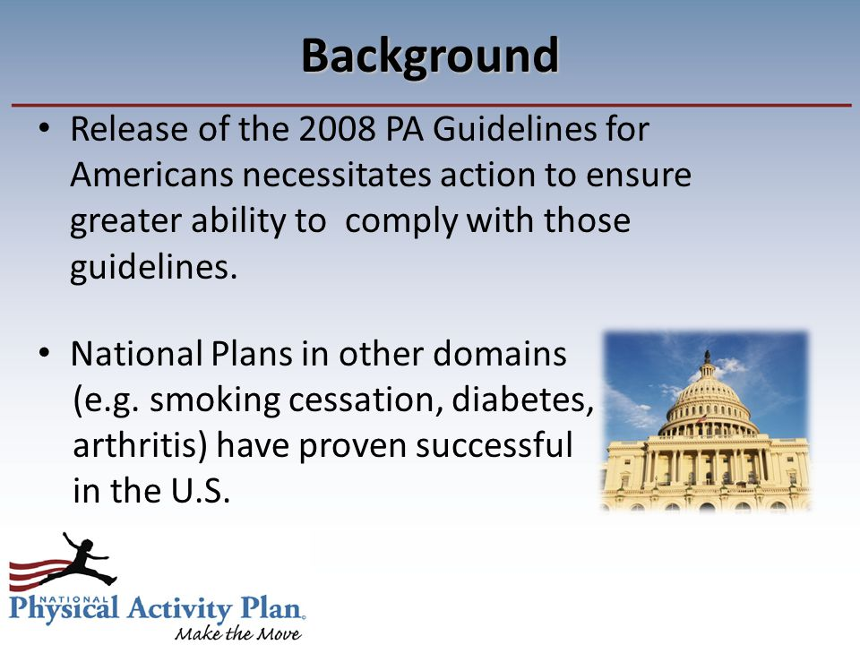 Background Release of the 2008 PA Guidelines for Americans necessitates action to ensure greater ability to comply with those guidelines.
