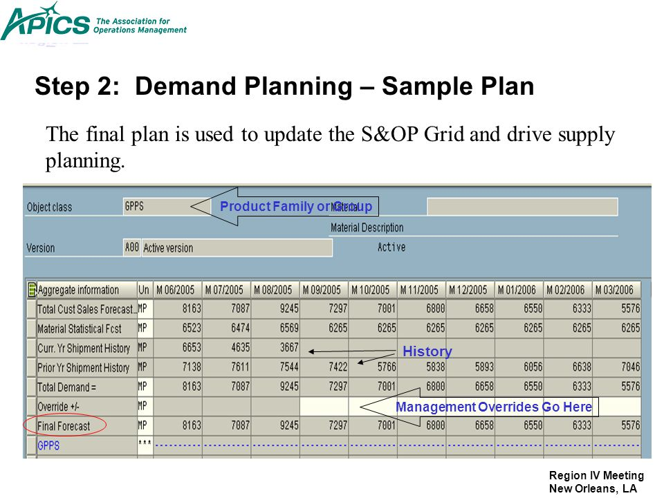 Region IV Meeting New Orleans, LA Management Overrides Go Here Product Family or Group History Step 2: Demand Planning – Sample Plan The final plan is
