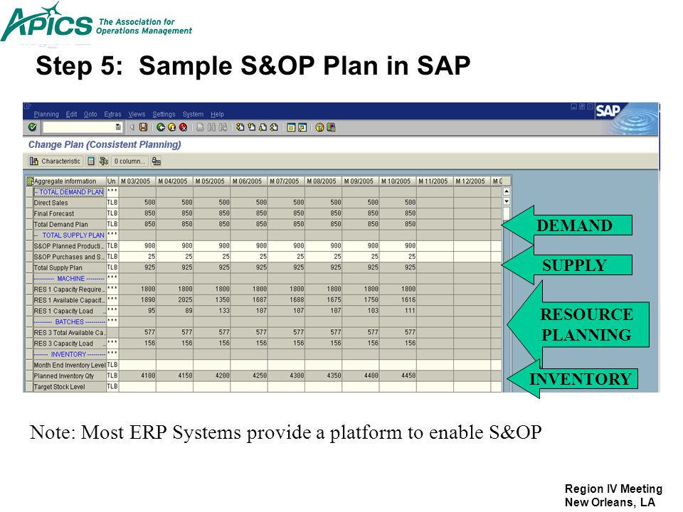 Region IV Meeting New Orleans, LA Step 5: Sample S&OP Plan in SAP DEMAND SUPPLY RESOURCE PLANNING INVENTORY Note: Most ERP Systems provide a platform