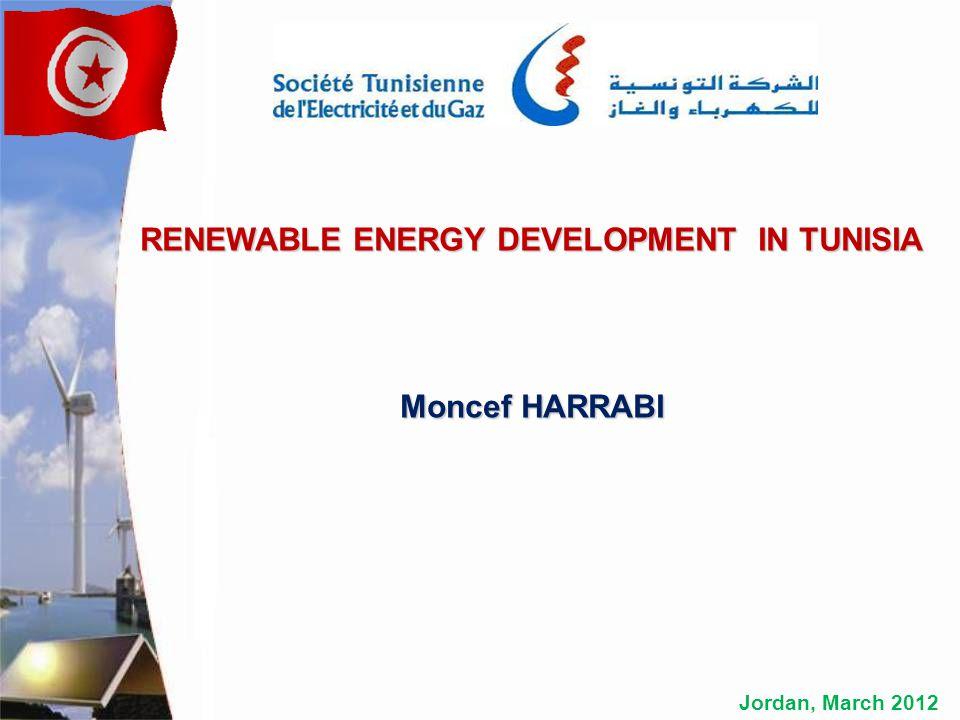 Jordan, March 2012 RENEWABLE ENERGY DEVELOPMENT IN TUNISIA Moncef HARRABI