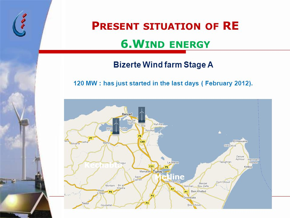 P RESENT SITUATION OF RE 6.W IND ENERGY Bizerte Wind farm Stage A 120 MW : has just started in the last days ( February 2012). Kechabta Metline