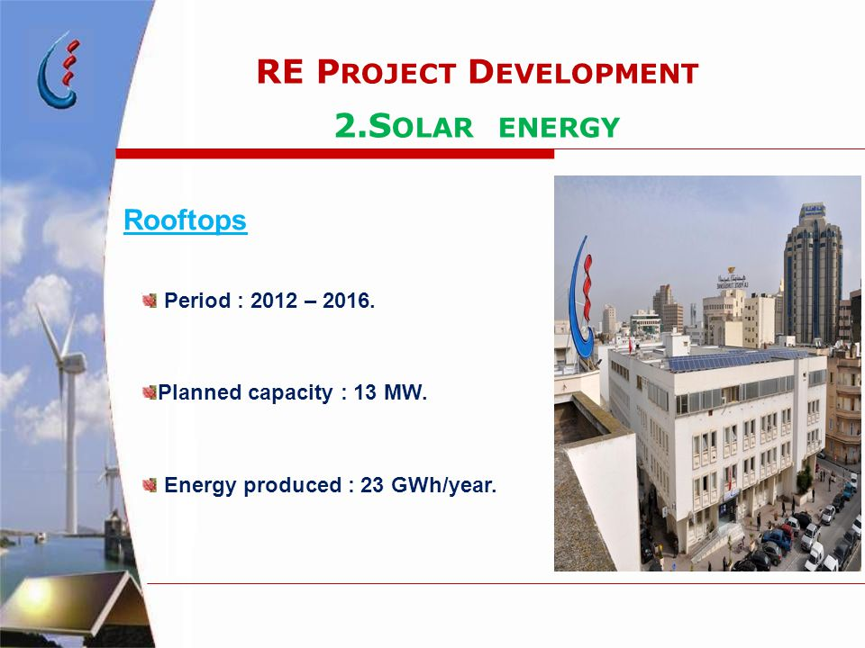 RE P ROJECT D EVELOPMENT 2.S OLAR ENERGY Rooftops Period : 2012 – 2016. Planned capacity : 13 MW. Energy produced : 23 GWh/year.